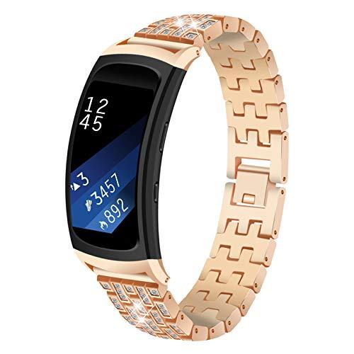 Correa Compatible con Samsung Gear Fit 2 /Gear Fit 2 Pro, Correa Ajustable de Acero Inoxidable BFISOD con Correa de Repuesto de Diamantes de Imitación Brillantes (Oro Oscuro)