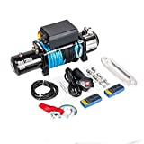 Electric Winch 12V 13000 lbs Recovery Winch Compatible with Trailer Truck SUV ATV Synthetic Rope with Wireless Remote Control Kit