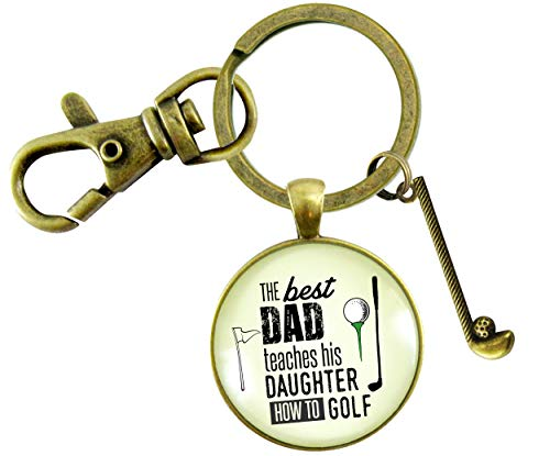Gutsy Goodness Golfer Keychain Father Gift From Daughter Best Dad Teaches Golf Club Charm Mens Key Ring