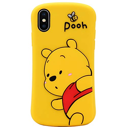 MC Fashion iPhone X Hülle, Cute 3D Cartoon Bee Bear Winnie The Pooh Fun Hülle, Full Body Protective Soft Silicone Case for iPhone X/Xs (5.8 Zoll)