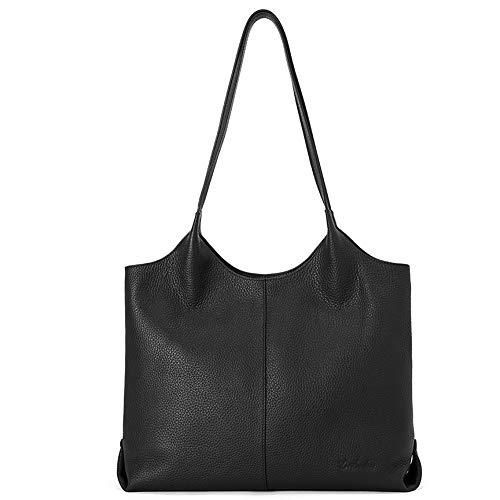 BOSTANTEN Women Handbags Designer Shoulder Tote Bag Soft Genuine Leather Top-handle Purse Black