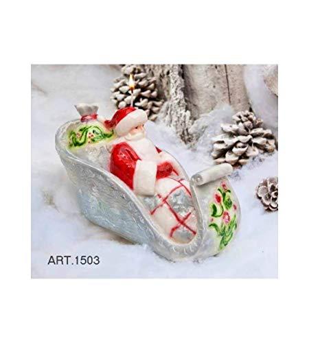 1503 Candele Natalizi Artigianale Forma Babbo Natale Su Slitta Rosso Lucido 29Cm X 15Cm Altezza 17Cm Da 2 Pezzi