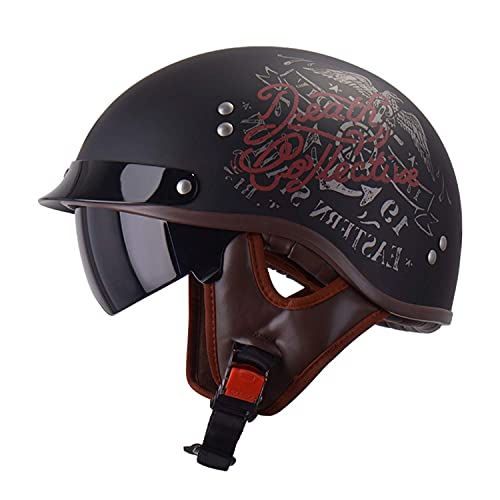 ACEMIC Medio casco de motocicleta, estilo vintage, casco abierto con visera transpirable, ligero para hombres y mujeres, certificación DOT/ECE B, L