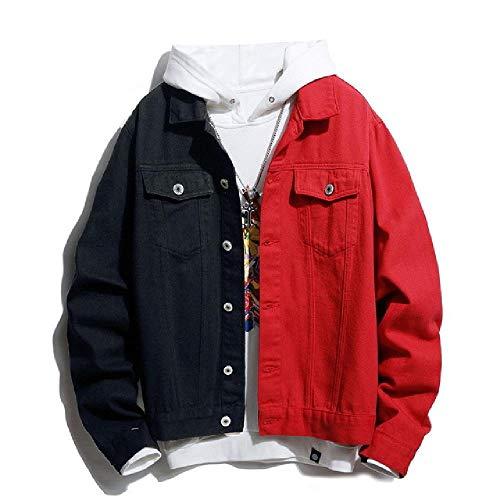 Herren Streetwear Schwarz Weiß zweifarbig Patchwork Slim Fit Jeans Jacken Motorrad Hip Hop Baumwolle Casual Denim Jacke Mäntel Gr. XL, rot