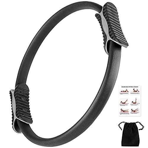 Pilates Ring -Magic Fitness Sport Ring,Yoga Ring mit 2 rutschfesten Griffen für zur Stärkung der äußeren Oberschenkel/Arme,Beckenboden Trainer mit Workout Poster & Tasche für Home Office Studio