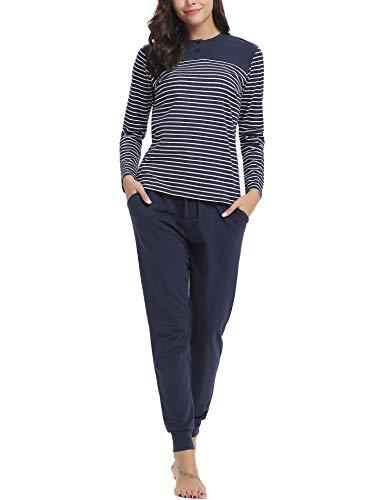 Aibrou Pijamas Mujer Invierno de Algodón Mangas Larga Conjunto Camiseta y Pantalones Largo Ropa de Casa 2 Piezas