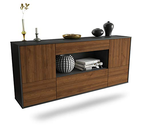 Dekati Sideboard East Los Angeles hängend (180x77x35cm) Korpus anthrazit matt | Front Holz-Design Walnuss | Push-to-Open | Leichtlaufschienen
