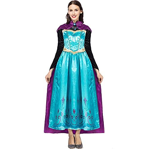 YIANG Ladies Cosplay Halloween Palace Queen Frozen Princess Anna Costume Adult Cloak Queen Aisha Costume Cyan-L