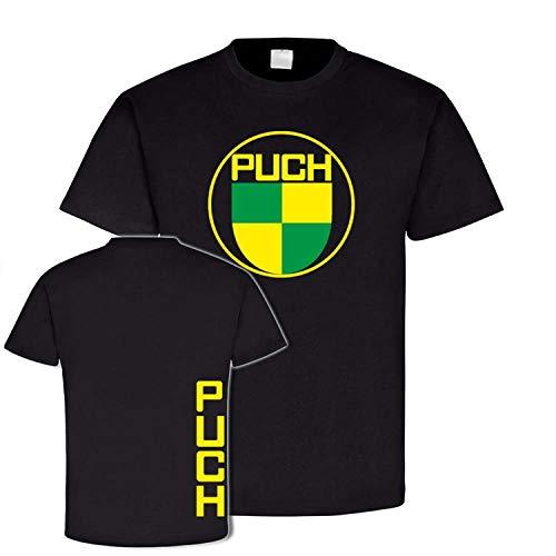 Puch Vintage T-Shirt Classicer Motorradbekleidung Motocross Motorradzubehör Geländemotorrad #24143, Größe:L, Farbe:Schwarz