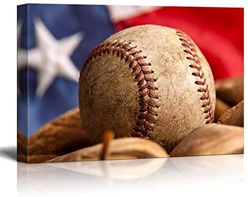 HUA JIE Kit para Colgar Cuadros Pasatiempo de béisbol de Estados Unidos y Guante Frente a la Bandera, Pelota desgastada y Guante, Lienzo, Arte casero para gimnasios