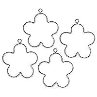 Blume mit Aufhänger, 4 Stück, 5,5 cm ø, runder, glatter Draht, ca. 1,8 - 2 mm stark Zum Umwickeln, mit Papierdraht, Bändern, Baumwollkordeln, Perlendraht Voll im Trend, Perlen auf einen dünnen Draht fädeln und um die Form wickeln Für Fensterdekoratio...