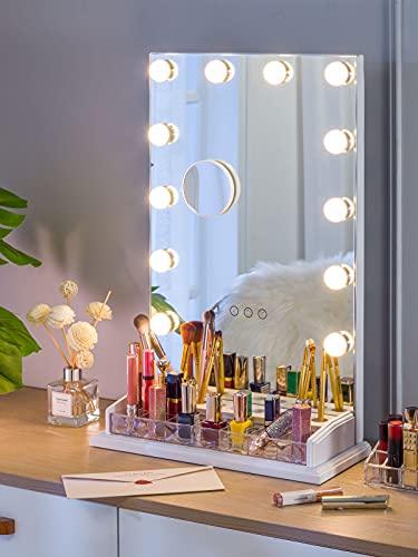 LUXFURNI Mesa de maquillaje Hollywood espejo regulable luz táctil control 12 luces LED frías/cálidas, organizador de maquillaje titular de cepillo