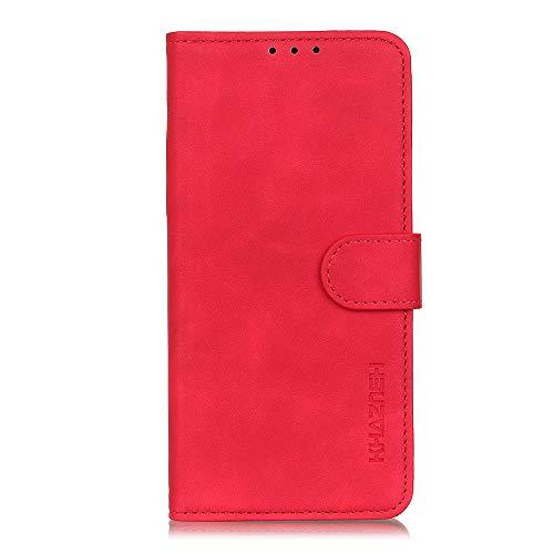 Hauw Hülle für Wiko View4 Lite,Faltbare Flip Wallet-Handyhülle für Wiko View4 Lite,rot
