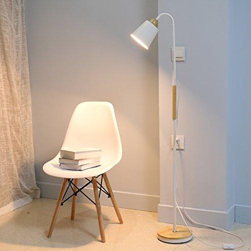 Staande lamp hout woonkamer slaapkamer nachtkastje LED afstandsbediening E27 LED (kleur: wit)