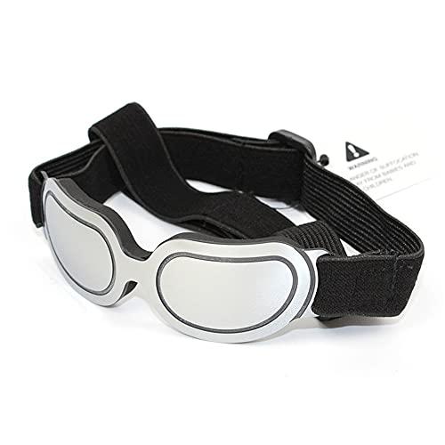 XLNB Gafas De Sol para Perros Pequeños Gafas De Lentes Reflectantes Protección UV Protección para Los Ojos con Gafas De Sol Ajustables Impermeables a Prueba De Viento,Plata