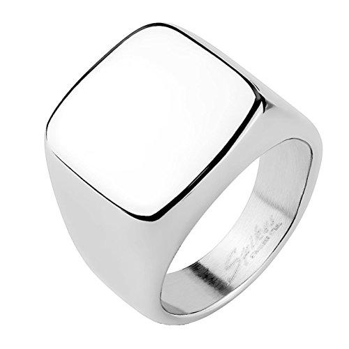 Paula & Fritz® Quadrat SIEGEL 16.5mm breit Edelstahlring Damen-Ring Verlobungs-Ring Freundschaftsring Herrenring Partnerring Silber Ringgröße 63 (20)