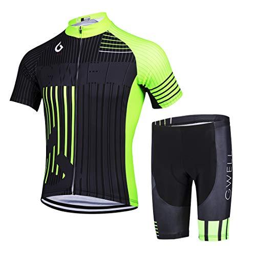 GWELL Set di maglia da ciclismo da uomo, a maniche lunghe + pantaloni da ciclismo con imbottitura per la seduta, per mountain bike, con fodera in pile a scelta Verde (set con pantaloncini). M