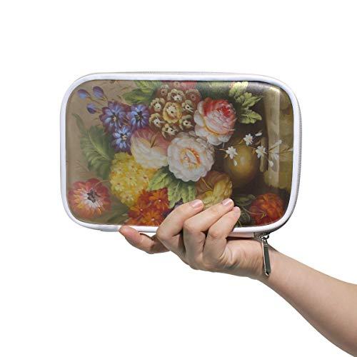 Große Kulturbeutel Vintage bunte Blumen auf Wasser Vase Stift Tasche mit Reißverschluss Frauen Bleistift Fall multifunktionale schöne Taschen für Mädchen für Männer Frauen
