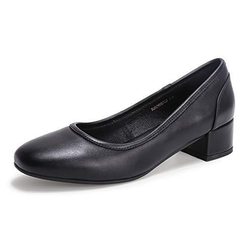 IDIFU Women's RO2 Low Chunky Heel Pumps Square Closed Toe Dress Wedding Shoes (Black Pu, 10 M US)
