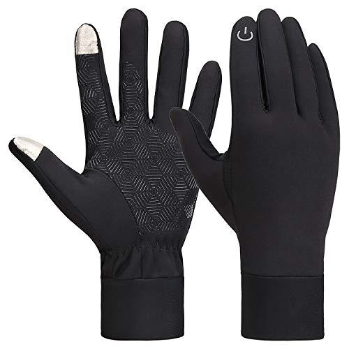 Bequemer Laden Handschuhe Herren Winter Warme Handschuhe Touchscreen Wasserdicht RutschFeste Fahrradhandschuhe mit Touchscreen Funktion für Smartphones, Schwarz, M