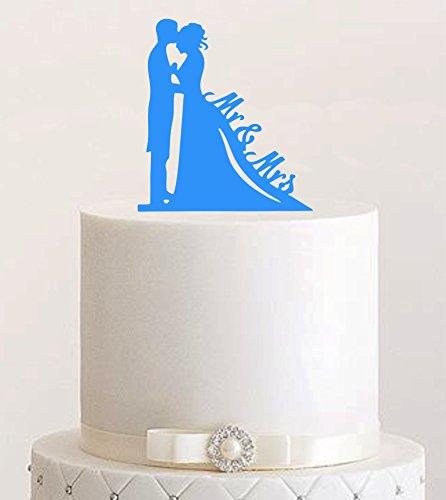 Décoration de gâteau Mr & Mrs, couleur au choix – Décoration de gâteau en acrylique pour gâteau de mariage (bleu clair)
