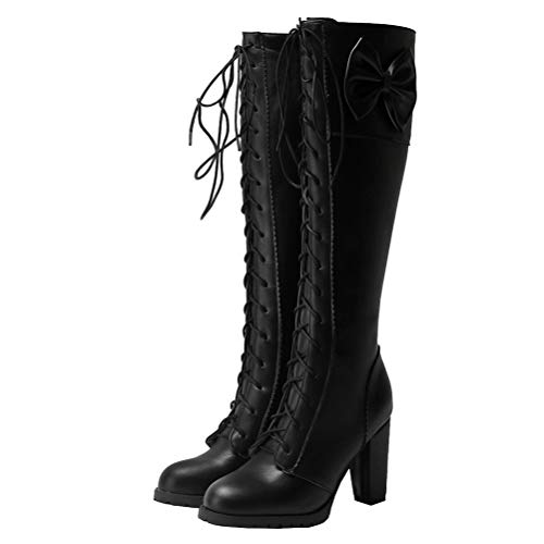 Birdsight Damen Schnürstiefel Kniehoch High Heels mit Blockabsatz und Schleife Kniehohe Boots zum Schnüren Rockabilly Cosplay Lolita Schuhe (Schwarz, 41)