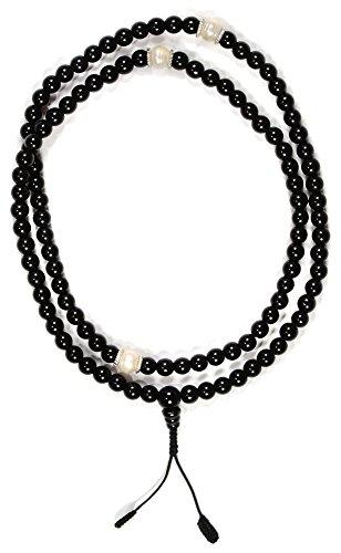 Mala aus schwarzem Onyx und Süßwasserperlen buddhistische Gebetskette mit 9 mm Perlen