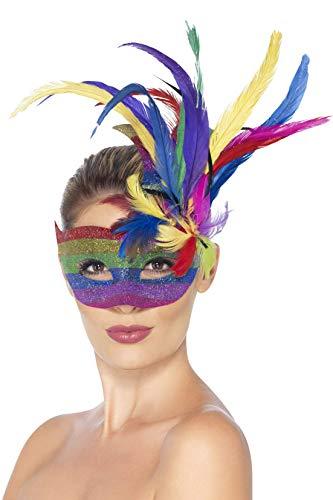 Smiffys Masque carnaval arc en ciel, avec plumes