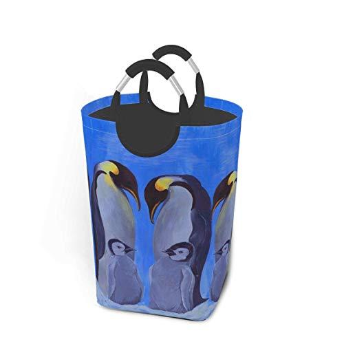 NOBRAND Cesto grande de 50 l para la colada, diseño de pingüinos emperadores, plegable, con asas de aluminio, para ropa sucia, bolsa plegable
