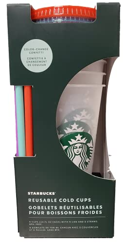 Starbucks Summer 2021 Color Changing Confetti Reusable Cold Cups Summer 24 oz, Set of 5