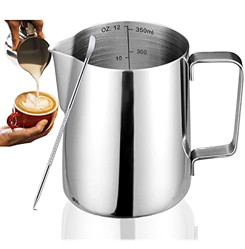 Milk Frothing Pitcher Jug Coffee Spoons Frother Steamer Cup Foam Making - Suitable for Espresso - Latte Art Chai Cappuccino Hot Chocolate - Stainless Steel - Easy to Read Creamer Measurements Inside
