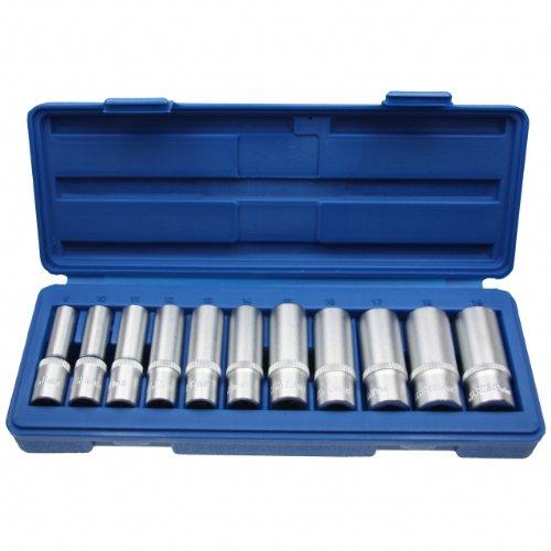 """Lange Steckschlüsseleinsätze Nusskasten Stecknuss Schraubenschlüssel Stecknüsse 3/8"""" Nuss 8-19 mm - Chrom-Vanadium-Stahl - 11 tlg. Inkl. robuste Kunststoffbox"""