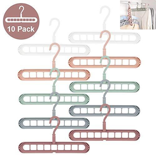 Kleiderbügel Platzsparende, 10 Stück Fünf Farben Multi Bügel Organizer,Magic Hanger, Schrank Kleiderbügelhalter Raumsparbügel,360 Grad Drehbares,Garderobe Kleiderbügel für Schwere Kleidung (Zehn)
