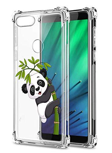 Suhctup Compatible con LGQ8ThinQ/V20Mini Funda para Silicona Transparente con Dibujos Panda Diseño Patrón Cárcasa Ultra-Fina Suave TPU Choque Cojín de Esquina Parachoque Caso-Panda 9