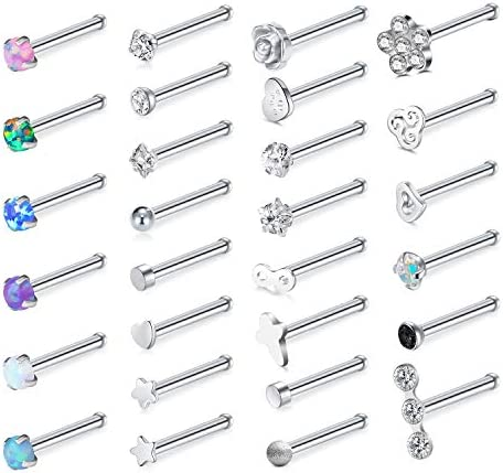 Zolure 20G 28PCS Nose Ring Studs Stainless Steel Opal CZ Nose Piercings Pin Set Body Piercing product image