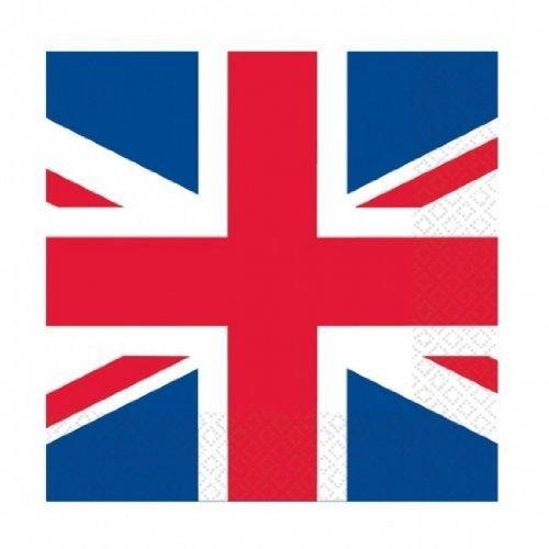 SHATCHI Britain GB UK Union Jack Servietten/Becher/Tischdecke/Teller, Servietten, Geschirr, Partyzubehör, Sportveranstaltungen, Kneipe, Grillen, königliches Design, 25 Stück Papier