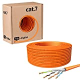 HB-Digital 50m cat 7 LAN de red digital Cable de instalación Cable 50m cat 7 Cobre Profi S/FTP PIMF LSZH Naranja libre de halógenos Conforme a RoHS cat. 7 Cat7 Ethernet AWG 23/1 Color naranja