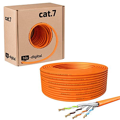 hb-digital 50m CAT.7 Netzwerkkabel LAN Kabel Verlegekabel AWG 23 Reines Kupfer S/FTP PiMF LSZH Halogenfrei RoHS-Compliant Ethernet Installationskabel Datenkabel PoE 10Gbit/s max. 1000MHz Orange