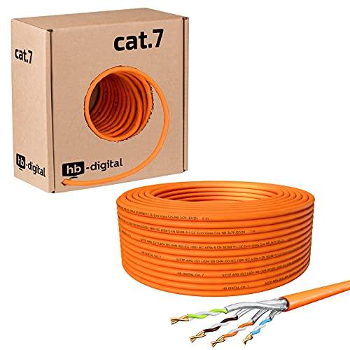 HB-Digital 50m Cat. 7 LAN Cabel di rete Cavo di installazione Ethernet Cabel Rame Profi S/FTP PIMF LSZH Giallo senza alogeni conforme alla direttiva RoHS Cat7 AWG 23/1 50 m Colore: arancione