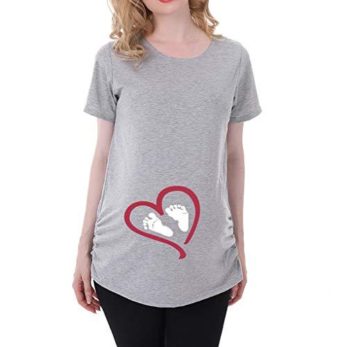 Q.KIM Camiseta Divertido Estampada de Sin Mangas/Manga Corta/Manga Larga Premamá Para Mujer Embarazo Lactancia T-Shirt-Serie de Huellas