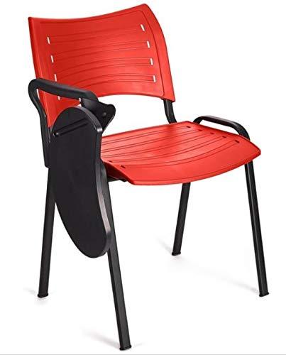 4x Silla de colectividades con pala, PVC, ideal para academias, autoescuelas. Apilables. Color rojo
