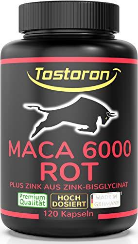 Tostoron MACA 6000 ROT extra stark + hochdosiert - hol dir den TOSTORON HAMMER direkt nach Hause! 120 Kapseln Maca Extrakt 10:1 aus roten Wurzeln plus Zink aus Zink-Bisglycinat* 1 Dose (1x89,7g)