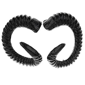 JANOU Artificial Sheep Ram Horns Costume DIY Ram Horns Headband Hair Ornament for Men Women Halloween Party Cosplay  Black