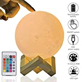 Lámpara de Luna 3D, Yizhet LED Luna Luz Nocturna Recargable USB 16 Colores Control Táctil y Control Remoto Lampara Lunar Decorativa para Dormitorio, Decoración Navideña, Regalos para Niños, (12cm)