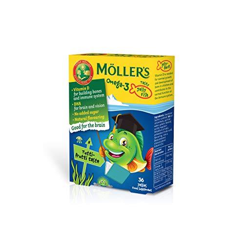 Moller's  | Omega 3 para niños | Omega-3 Cápsulas de Aceite de Pescado con Ácidos Grasos Omega 3 | Con DHA y EPA, Sin Gluten, Sin Lactosa, Sin Azucares Añadidos | Tutti Frutti | 36 Uds