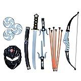 SENSORY4U Toy Ninja Accessories Kit 15 Piece Set Includes: Ninja Sword and Sheath, Plastic Ninja Knife, Throwing Stars and Ninja Bow and Arrow Set for Kids