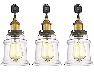 IVEN H-Type 3 Wire Miniature Pendant Track Lighting Fixture Restaurant Chandelier Decorative Chandelier Instant Pendant Industrial Factory Glass Pendant Lamp,Bulb Include,One Light