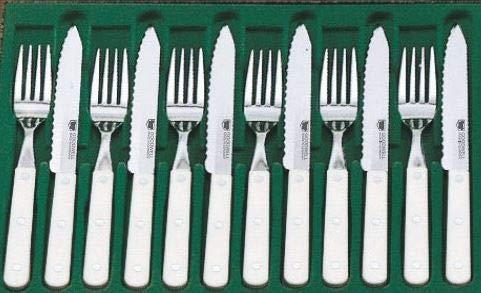 Goodwell Besteck, Steakbesteck Set (12 Teilig) im Geschenketui mit Wellenschliff (Weiss)
