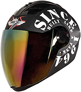 Steelbird SBA-2 TANK Full Face Helmet in Matt Finish with Gold Visor (Large 600 MM, Black/White)