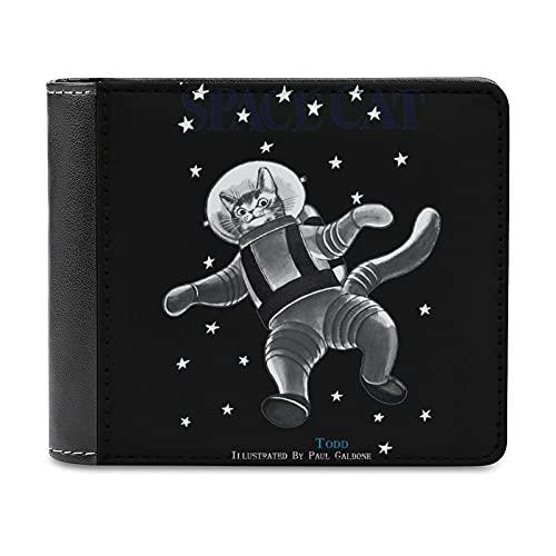 宇宙飛行士スペースキャット Space Cat 財布 メンズ 二つ折り財布 大容量 ウォレット 小銭入れ付 ウォレットカード収納 PU本革 メンズ レディース シンプル 取り出しやすい 高級感 アンティーク調 プレゼントblack-宇宙飛行士スペースキャット Space Cat1One size